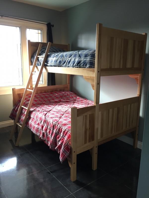 Natural Birch Bunk Beds - Double bottom bunk, Single top bunk